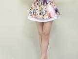 2014夏季新款女装韩版百搭高腰蓬蓬裙 印花百褶半身包臀短裙裤女