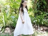 童裙2014夏吊带棉麻宽松女童长裙超仙纯色清爽波西米西裙一件代发