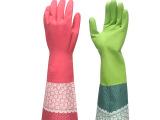 丽嘉艺 冬季家务清洁洗碗纺织布花袖保暖乳胶手套