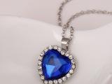 水晶项链 海洋之心王妃奥钻项链 高档铂金项饰品批发
