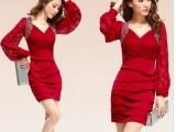 2013秋冬V领连衣裙秋季新款女装欧美性感蕾丝长袖红色连衣裙