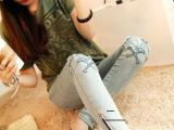 韩国代购个性脚口拉链 磨破 骷髅头刺绣牛仔裤小脚裤女裤