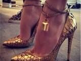 2015欧美爆款GZ欧美新款金属锁金色蛇纹尖头高跟单鞋真皮女鞋