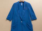 春秋季雪纺小西装女韩版显瘦七分袖带垫肩外贸原单外套