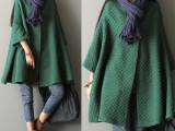 2015秋季新款韩版大码大衣外套 女装蝙蝠袖风衣中长款开衫外套