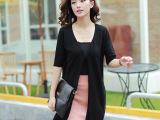 秋季新款黑色中长款V字领女式长袖针织衫韩版修身时尚上衣 批发