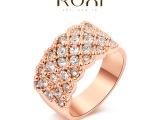 ROXI外贸**韩风手饰首饰专业批发奥地利水晶玫瑰金镶白小钻戒指