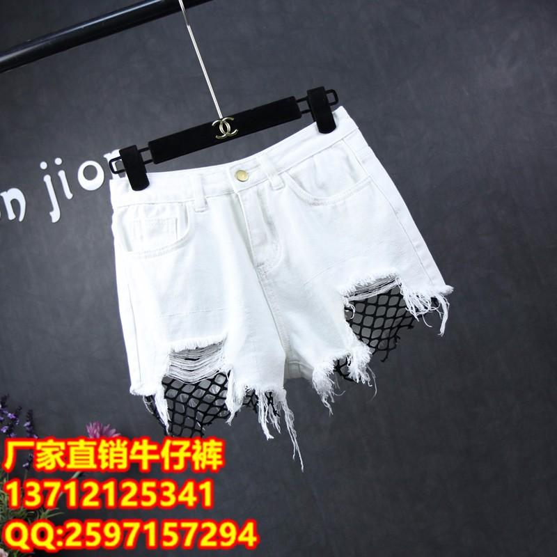 绍兴哪里夏季新款热销牛仔短裤批发厂家外贸服装货源批发韩版破洞