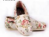 套脚帆布鞋女 米白花朵天丝透气一脚蹬玛丽鞋 韩版潮流厂家直销