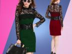 女人秀2015新款春装长袖蕾丝包臀修身气质职业中长款连衣裙60387