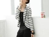 欧美小西装 女外套2014春装 新款女装 韩版西装条纹修身 潮