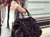1225亮片枕包 链条包包单肩包欧美时尚冬季新款女包大包包 招代