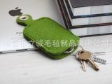 现货供应简约羊毛毡钥匙包 男女钥匙扣 绿色灰色 学生家用锁匙包