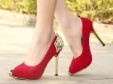 新款女鞋单鞋 韩版金属尖头翅膀装饰浅口唯美显瘦高跟鞋 6728