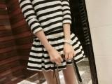 2014春夏新款5009女装韩版大牌泰丝黑白条纹短袖短裙套装