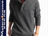 男式毛衫修身衬衫领韩版 假两件针织衫男装线衫 一件代发免费代理