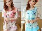 韩国代购夏装新款韩版假两件中学生大码宽松 雪纺衫 一件代发
