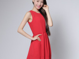 夏季新款中长款修身显瘦雪纺连衣裙女欧美时尚夏裙无袖红裙AM006