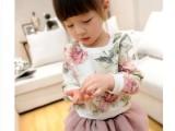 2014新款时尚女童复古花朵打底衫 女童百搭上衣 亲子装 童装批