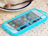 新款iphone 5C/5STPU透明触摸屏手机壳 翻盖透明触屏
