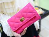 2014新款韩版可爱菱格钱包女士 中长款钱夹 手拿包女 潮 三折