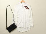 2015春夏女装衬衣欧美新款白色女式长袖中长款真丝衬衫女一件代发