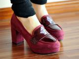 春秋新款时尚英伦风格粗跟单鞋高跟鞋纯色拼接圆头防水台女鞋A11