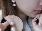 2014年韩版爆款 天然贝壳珍珠耳饰 双珍珠耳钉耳环 厂家小额混