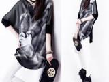 2015夏季新款韩版 印花长款蝙蝠 中袖T恤 打底衫 宽松女批发