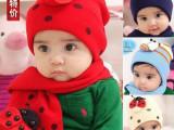 MZ0002韩国秋冬新款七星瓢虫甲壳虫卡通儿童帽子+围巾两件套