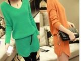 183新品韩版V领长款针织衫百搭纯色打底衫毛衣女(皮带毛衣)