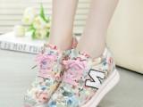 新款欧洲站韩版松糕底花朵布N字鞋秋款系带 女鞋一件代发厂家直销