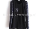 秋冬新款韩版潮羽绒棉长袖T恤 加绒加厚低领打底衫女装 保暖