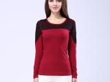 2015春季新款欧美修身弹力女式t恤蕾丝长袖打底衫女 打底衣