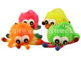 厂家直销 5寸闪光凸眼毛毛球 八爪鱼毛毛球 TPR玩具 小孩发泄