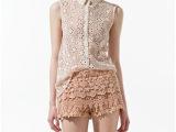 2014欧美裸色蕾丝雪纺衫镂空花朵透视无袖外贸雪纺衬衫 欧美