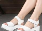 爱玉足 14女鞋新品真皮女鞋粗跟凉鞋白色厚底凉拖鞋 女清仓