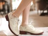 厂家直销2015春季新款系带女单鞋女鞋复古皮鞋粗跟女式鞋一件代发
