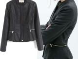 批发价2014新款ZARA同款黑色百搭喇叭下摆外套pu皮衣夹克外