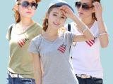 热销春夏季韩版女装V字领短袖t恤女 修身女式印花T恤打底衫批发