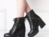 批发厂家直销冬季新款真皮牛皮粗跟高跟短靴防水台马丁靴女士靴子