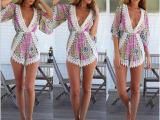 ebay 速卖通欧美爆款较新款印花V领性感长袖连体短裤