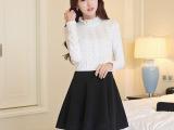 2015春季新款加绒加厚蕾丝拼接长袖连衣裙 韩版女装修身打底裙