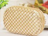 现货批发2013欧美新款 金色镶钻晚宴包 新娘婚礼手拿链条包 H
