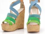 杂志款糖果色彩女凉鞋厚底坡跟女鞋拼色带高跟凉鞋女高帮