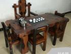 湘西市老船木茶桌椅子仿古茶台实木沙发茶几餐桌办公桌家具博古架
