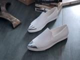 韩版女鞋 2014夏季新款金属尖头软面牛皮平底小白鞋 真皮女单鞋