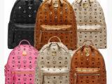 厂家直销韩国MCM经典款明星同款mcm双肩包背包铆钉书包