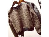 欧美秋冬复古磨毛豹纹灯笼长袖圆领套头短款女式加厚卫衣外套绒衫