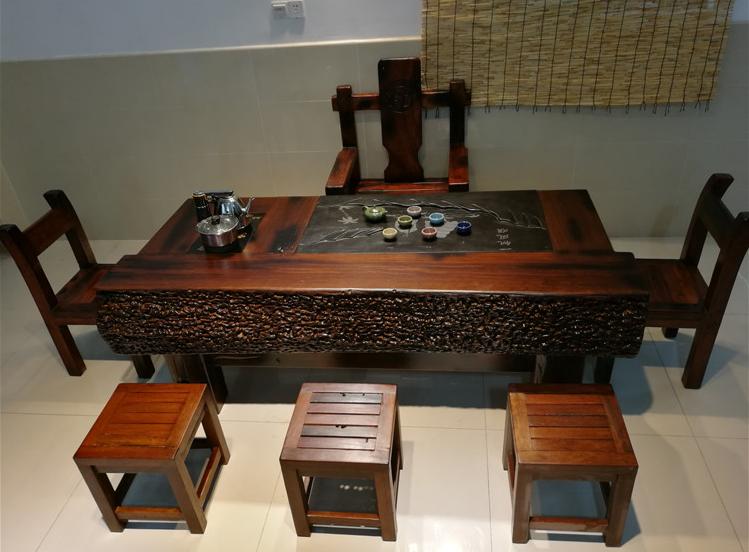 老船木茶桌机舱木茶台,老船木电磁炉灯架独板茶台,乌金石茶台